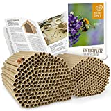 wildtier herz I 200 Bio Nisthülsen für Wildbienen Ø6 8 mm Set I inkl. E-Book von Biologen I aus Deutschland Öko Niströhren aus Gras u. Pappe I Insektenhotel Füllmaterial I Nisthilfe für Bienen